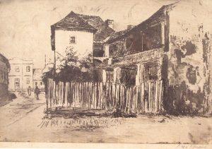 Križevci. Karasinkina gostiona; Dragutin Renarić, oko 1940 .g., 21,5 x 33,5 cm, grafika